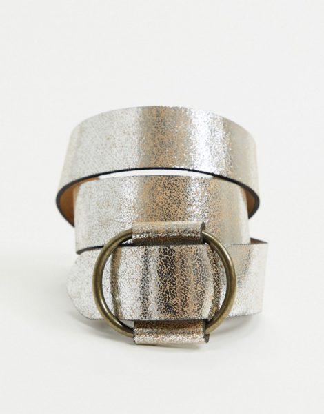 Pieces - Jeans-Gürtel aus Wildleder in Metallic-Silber
