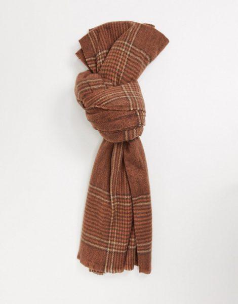 Pieces - Schal mit schwarzem Karomustermix-Bronze