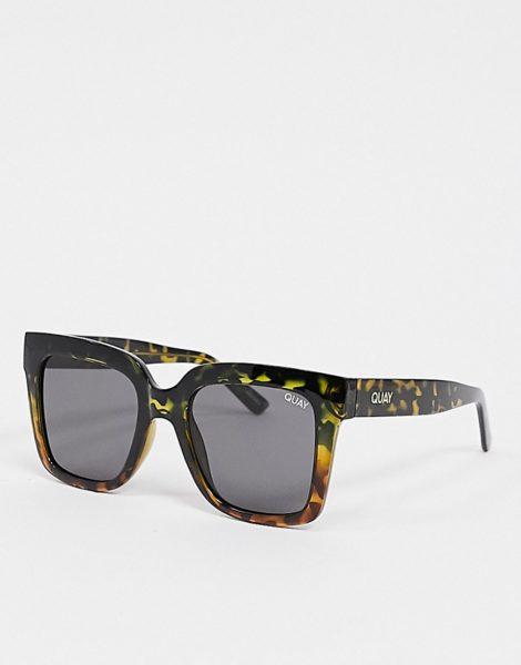 Quay Australia - Eckige Sonnenbrille in Schildpatt für Damen-Braun