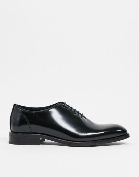 Reiss - Dominic - Schwarze Leder-Schnürschuhe im Budapester-Stil