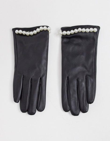 SVNX - Handschuhe in Leder-Optik mit Perlen-Nieten in Schwarz