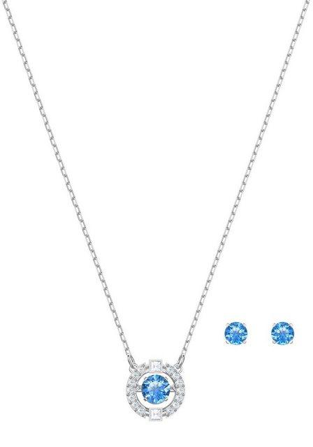 """Swarovski Ohrring und Ketten Set """"Sparkling Dance Round, blau, rhodiniert, 5480485"""" (Set, 3-tlg), mit Swarovski® Kristallen"""