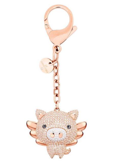 """Swarovski Schlüsselanhänger """"Little Pig Handtaschen-Charm, rosa, Metallmix, 5457471"""" (1-tlg), mit Swarovski® Kristallen"""