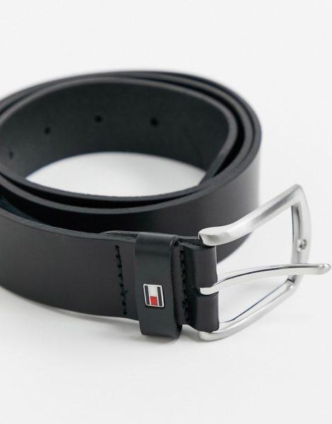Tommy Hilfiger - New Denton - Ledergürtel in Schwarz, 3,5 cm