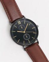 Topman - Chronographen-Uhr mit braunem Lederarmband
