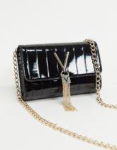 Valentino by Mario Valentino - Divina - Umhängetasche aus schwarzem Lackleder mit Umschlag und Quastendetail