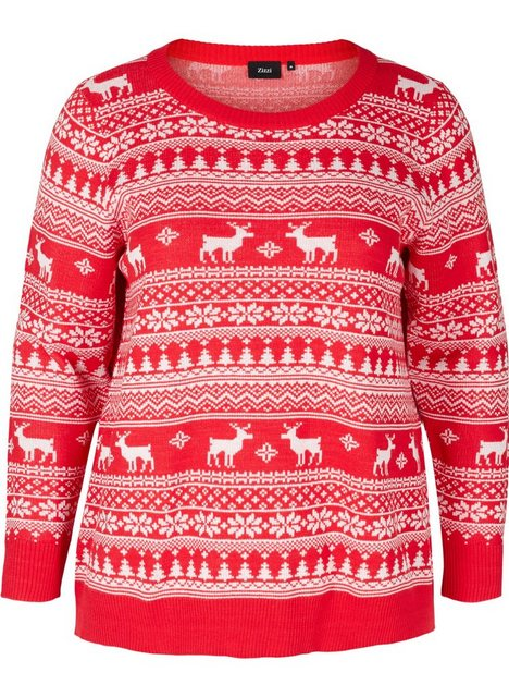 Zizzi Strickpullover Große Größen Damen Weihnachtspullover mit Muster und Rundhals