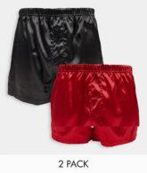ASOS DESIGN - 2er-Pack Boxershorts aus Satin in weihnachtlichen Farben-Mehrfarbig