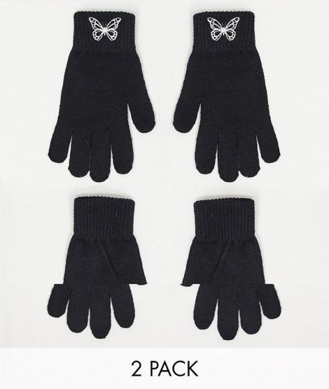 ASOS DESIGN - 2er-Pack Touchscreen-Handschuhe aus recyceltem Polyester in Schwarz mit Stickerei