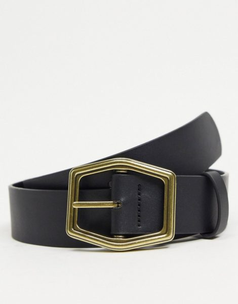 ASOS DESIGN - Breiter Gürtel aus schwarzem Kunstleder mit sechseckiger Schnalle