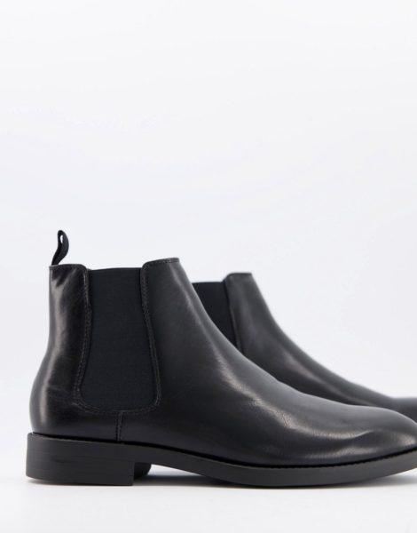 ASOS DESIGN - Chelsea-Stiefel aus schwarzem Kunstleder mit schwarzer Sohle