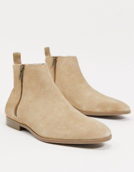 ASOS DESIGN - Chelsea-Stiefel in Stone aus Wildleder mit naturfarbener Sohle