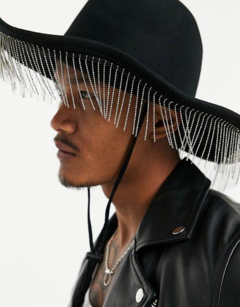 ASOS DESIGN - Cowboy-Hut mit strassverzierten Fransen-Schwarz