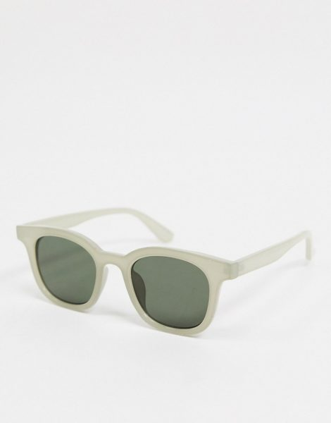 ASOS DESIGN - Eckige Sonnenbrille in Grau mit grünen Gläsern