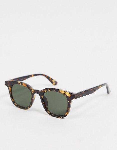 ASOS DESIGN - Eckige Sonnenbrille in Schildpattoptik mit getönten Gläsern-Braun