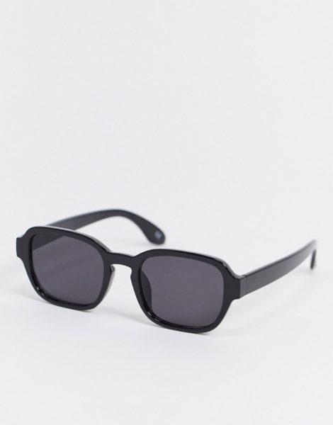 ASOS DESIGN - Eckige Sonnenbrille in Schwarz mit getönten Gläsern