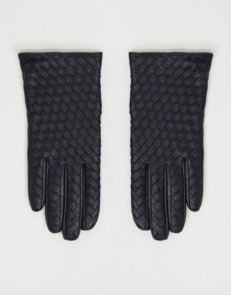 ASOS DESIGN - Geflochtene Touchscreen-Lederhandschuhe in Schwarz