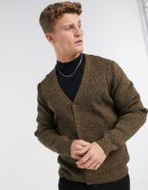 ASOS DESIGN - Gerippte Strickjacke zum Knöpfen mit V-Ausschnitt in hellbrauner Twist-Optik-Bronze