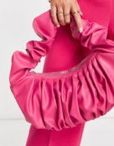 ASOS DESIGN - Gerüschte Umhängetasche in Pink-Rosa