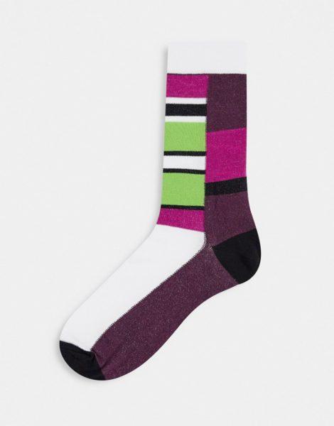 ASOS DESIGN - Knöchelhohe Socken mit leuchtendem Colourblock-Design-Mehrfarbig