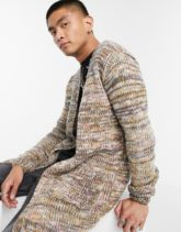ASOS DESIGN - Lang geschnittene Strickjacke mit Batikdesign-Mehrfarbig