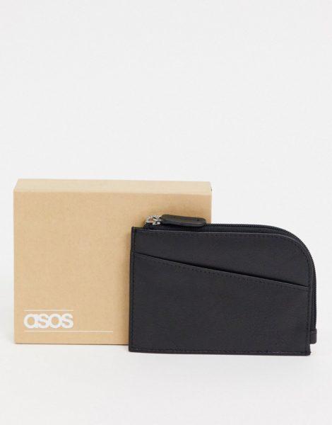 ASOS DESIGN - Leder-Geldbörse mit Reißverschluss-Schwarz