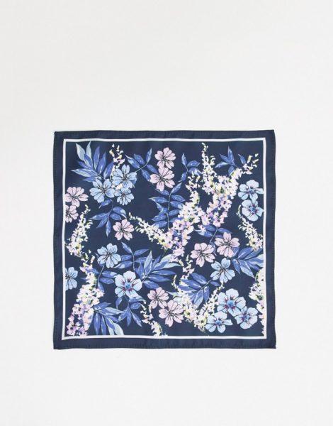 ASOS DESIGN - Marineblaues Einstecktuch mit Blumenmuster