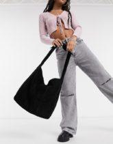 ASOS DESIGN - Oversize-Shopper-Tasche aus Veloursleder in Schwarz