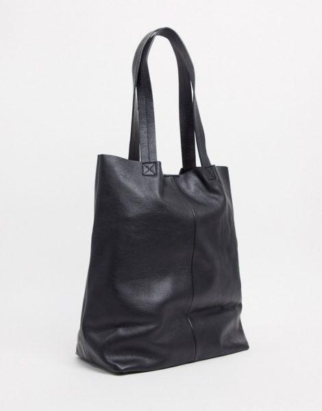 ASOS DESIGN - Oversize-Tragetasche aus schwarzem Leder
