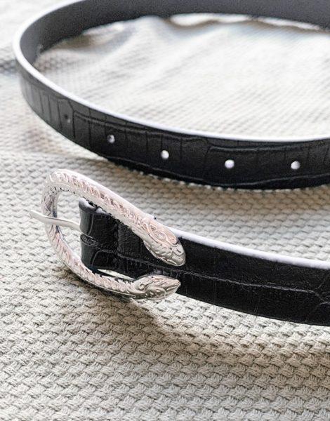 ASOS DESIGN - Party - Schmaler Gürtel aus schwarzem Kunstleder in Kroko-Optik mit Schnalle im Schlangendesign
