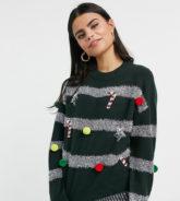 ASOS DESIGN Petite - Weihnachtspullover mit Lametta- und Kugelverzierung in Grün-Schwarz