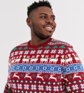 ASOS DESIGN Plus - Weihnachtspullover mit Lama-Design-Rot
