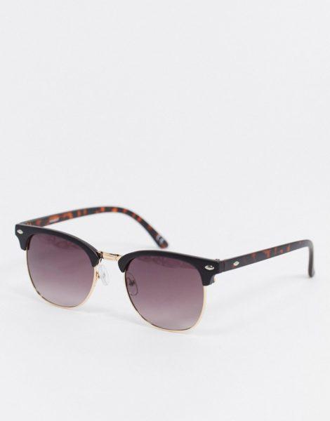 ASOS DESIGN - Retro-Sonnenbrille in Mattschwarz und Gold mit getönten Gläsern