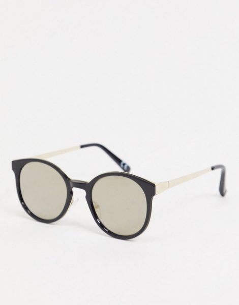 ASOS DESIGN - Runde Sonnenbrille in Schwarz mit verspiegelten Gläsern