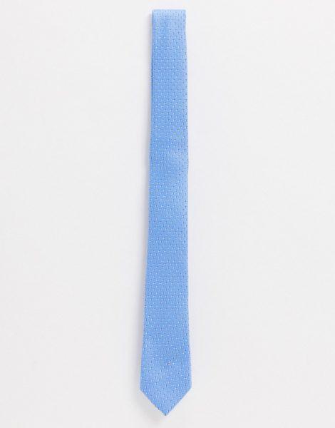 ASOS DESIGN - Schmal geschnittene, Krawatte in Blau mit Geomuster-Marineblau