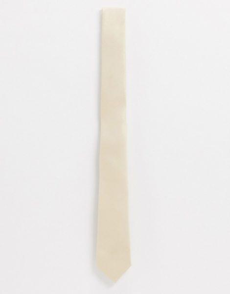 ASOS DESIGN - Schmal geschnittene Satinkrawatte in gebrochenem Weiß