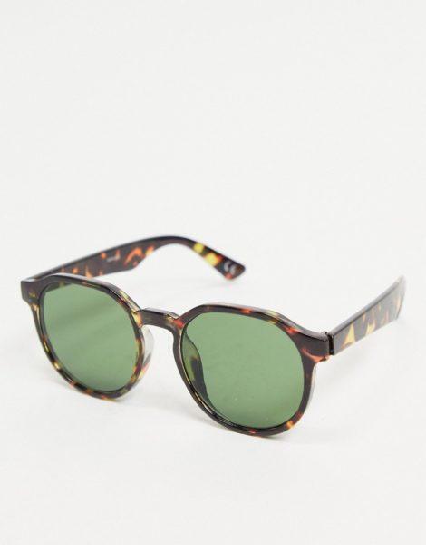 ASOS DESIGN - Schmale, eckige Sonnenbrille in Schildpatt mit eckigem Gestell und getönten Gläsern-Braun