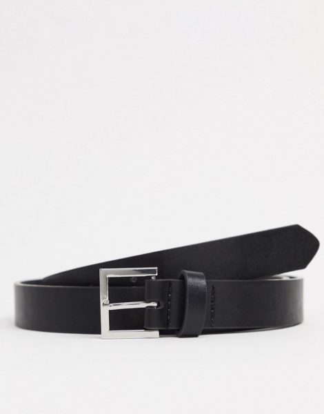 ASOS DESIGN - Schmaler Gürtel aus schwarzem Kunstleder mit silberfarbener Schnalle