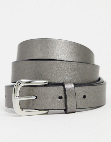 ASOS DESIGN - Schmaler Gürtel aus silberfarbenem Kunstleder