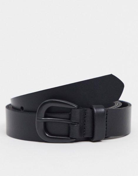 ASOS DESIGN - Schmaler Gürtel in Schwarz mit mattschwarzer Schnalle