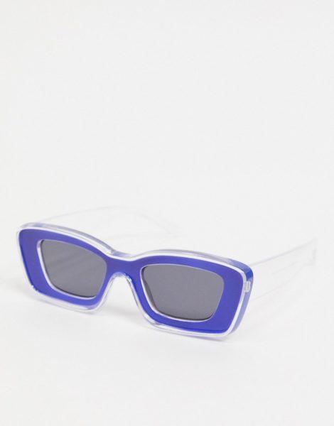 ASOS DESIGN - Sonnenbrille mit klobigem Rahmen und angeschrägter Fassung in Durchscheinend und Blau-Mehrfarbig