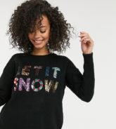 """ASOS DESIGN Tall - Weihnachtspullover mit """"Let It Snow""""-Paillettenmotiv zur Unterstützung der ASOS Foundation-Schwarz"""