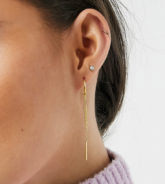 ASOS DESIGN - Vergoldete Ohrringe aus Sterlingsilber mit Kettenanhänger