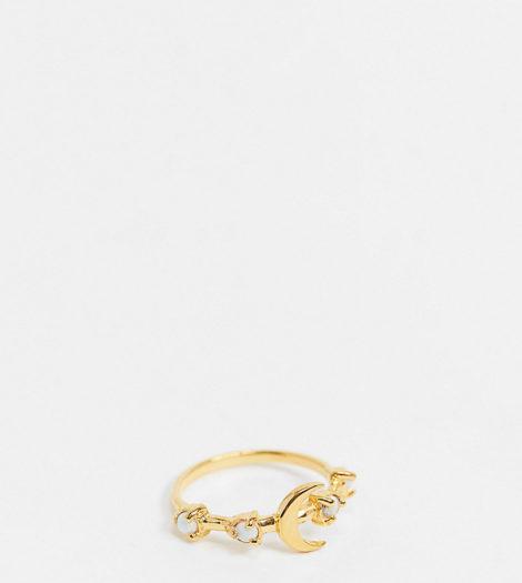 ASOS DESIGN - Vergoldete Ringe aus Sterlingsilber mit Opal-und Monddesign
