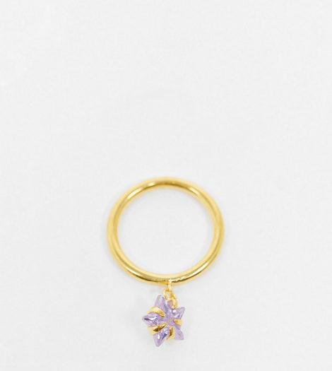 ASOS DESIGN - Vergoldeter Ring aus Sterlingsilber mit sternförmigem Zirkoniastein