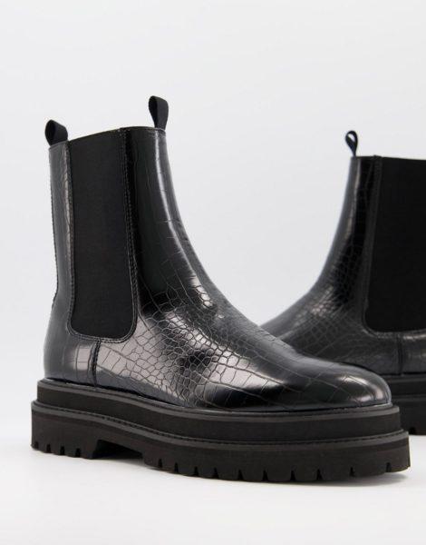 ASOS DESIGN - Wadenhohe Chelsea-Stiefel aus schwarzem Kunstleder in Kroko-Optik