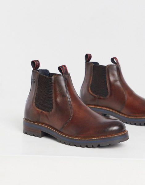Base London - Hadrian - Chelsea-Stiefel aus poliertem braunem Leder