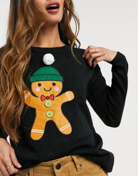 Brave Soul - Gingerbread - Weihnachtspullover-Schwarz