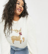 Brave Soul Plus - Flauschiger Weihnachtspullover mit Rentier-Motiv-Creme