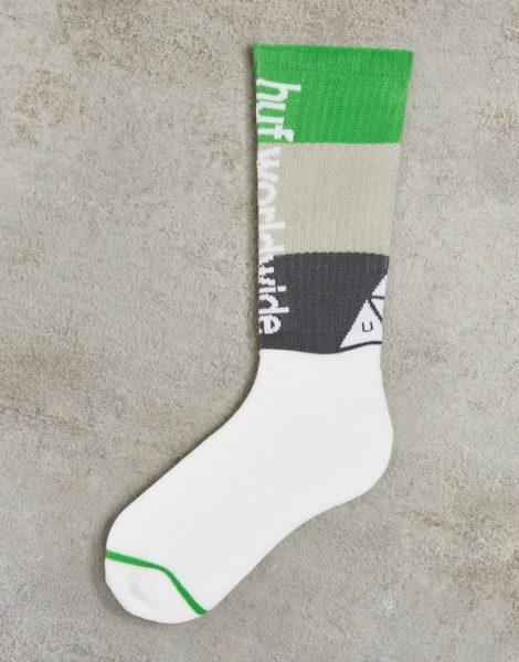 HUF - Peak - Gestreifte Socken in Weiß-Bunt